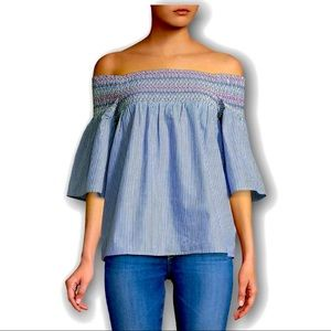 Beach Lunch Lounge Off Shoulder Stripped Shirt L